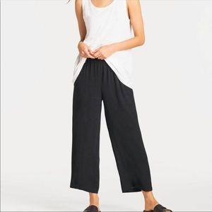 Eileen Fisher Silk Georgette Crepe Crop Pants